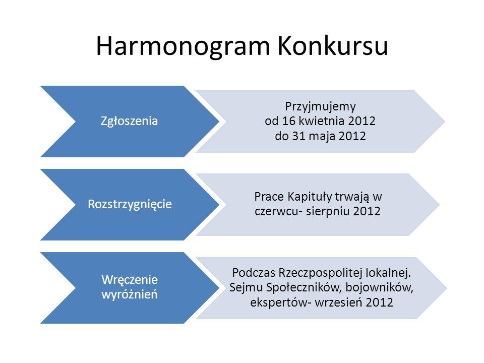 Harmonogram Konkursu Zgłoszenia Przyjmujemy od 16 kwietnia 2012 do 31 maja 2012 Rozstrzygnięcie Prace Kapituły trwają w czerwcu- sierpniu 2012 Wręczenie wyróżnień Podczas Rzeczpospolitej lokalnej.