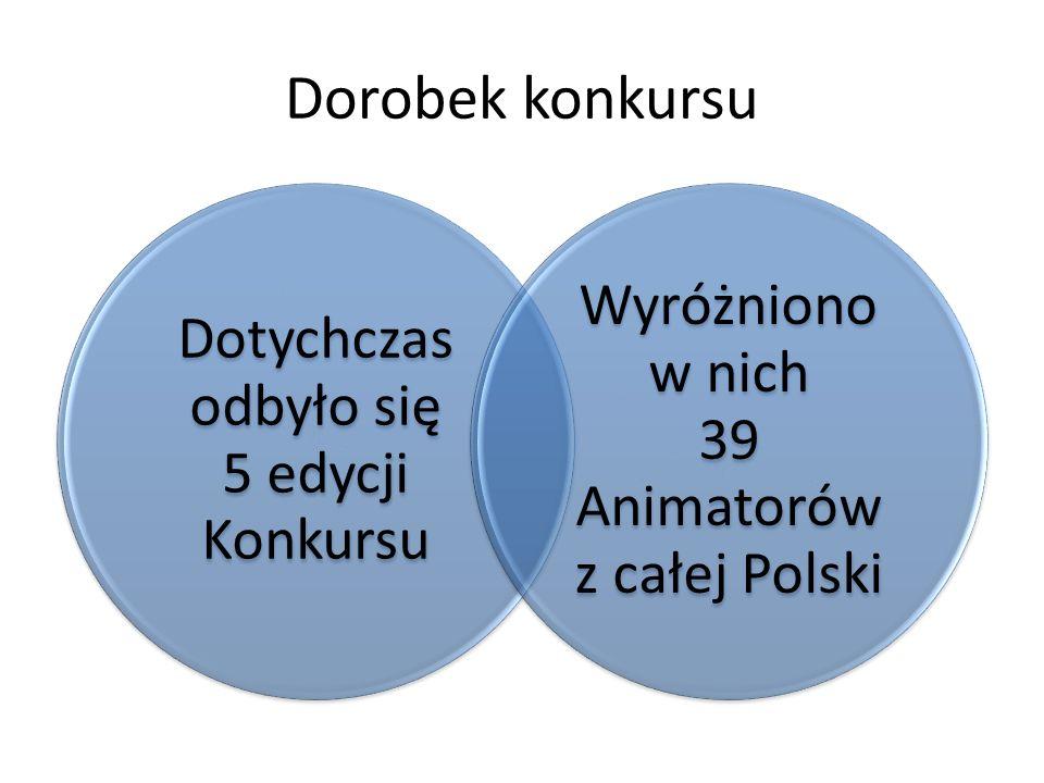 Dorobek konkursu Dotychczas odbyło się 5 edycji Konkursu Wyróżniono w nich 39 Animatorów z całej Polski