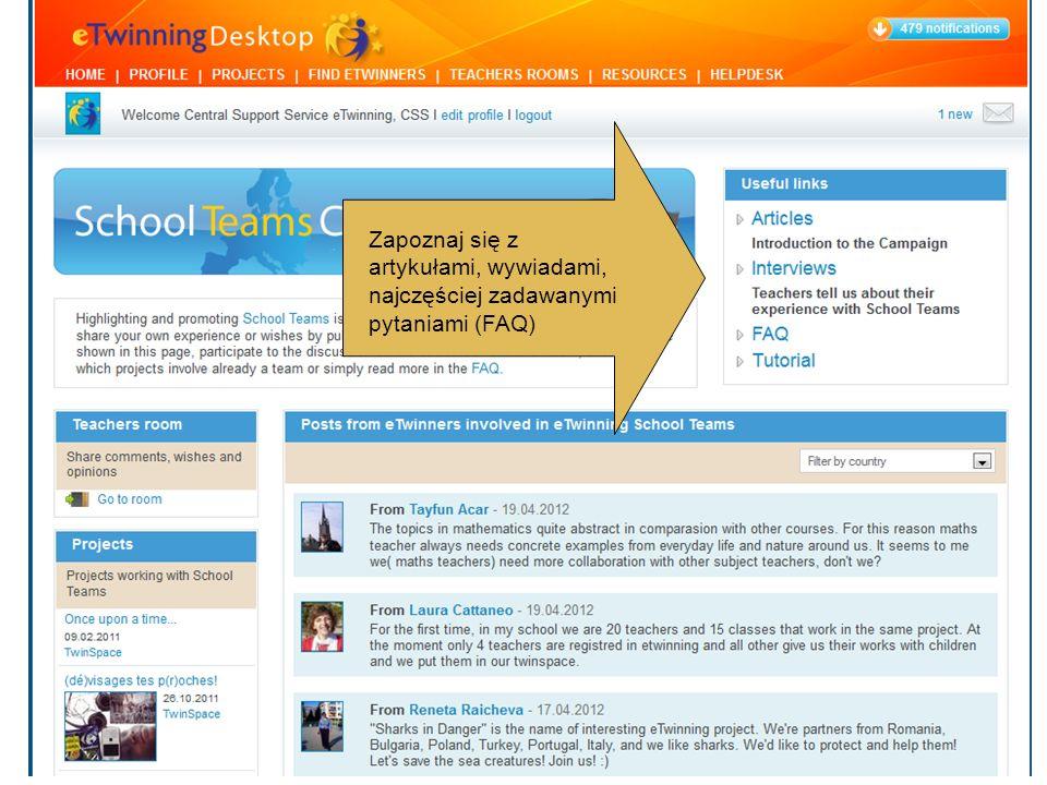 Czytaj posty zamieszczane przez kolegów działających w Szkolnych Zespołach.