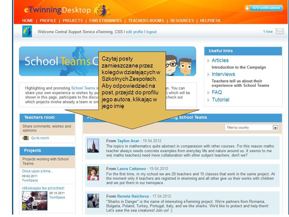 Czytaj posty zamieszczane przez kolegów działających w Szkolnych Zespołach. Aby odpowiedzieć na post, przejdź do profilu jego autora, klikając w jego