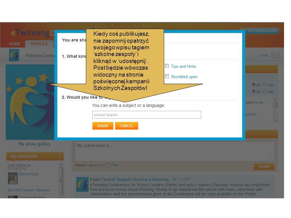 Kiedy coś publikujesz, nie zapomnij opatrzyć swojego wpisu tagiem szkolne zespoły i kliknąć w udostępnij. Post będzie wówczas widoczny na stronie pośw