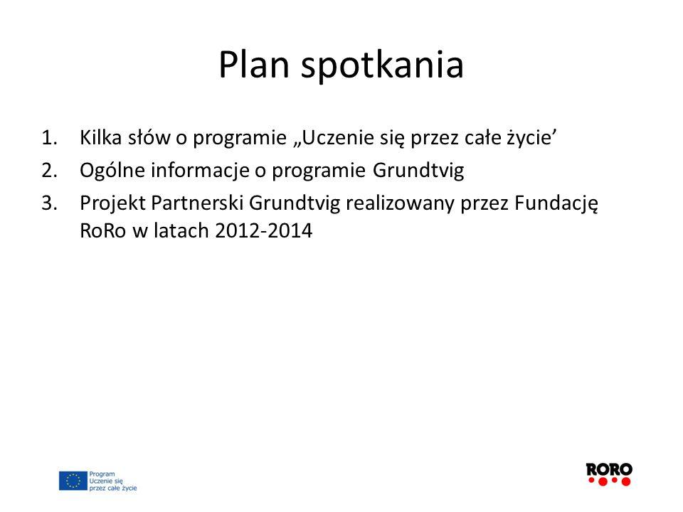 Plan spotkania 1.Kilka słów o programie Uczenie się przez całe życie 2.Ogólne informacje o programie Grundtvig 3.Projekt Partnerski Grundtvig realizow