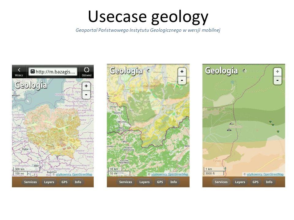 Usecase geology Geoportal Państwowego Instytutu Geologicznego w wersji mobilnej