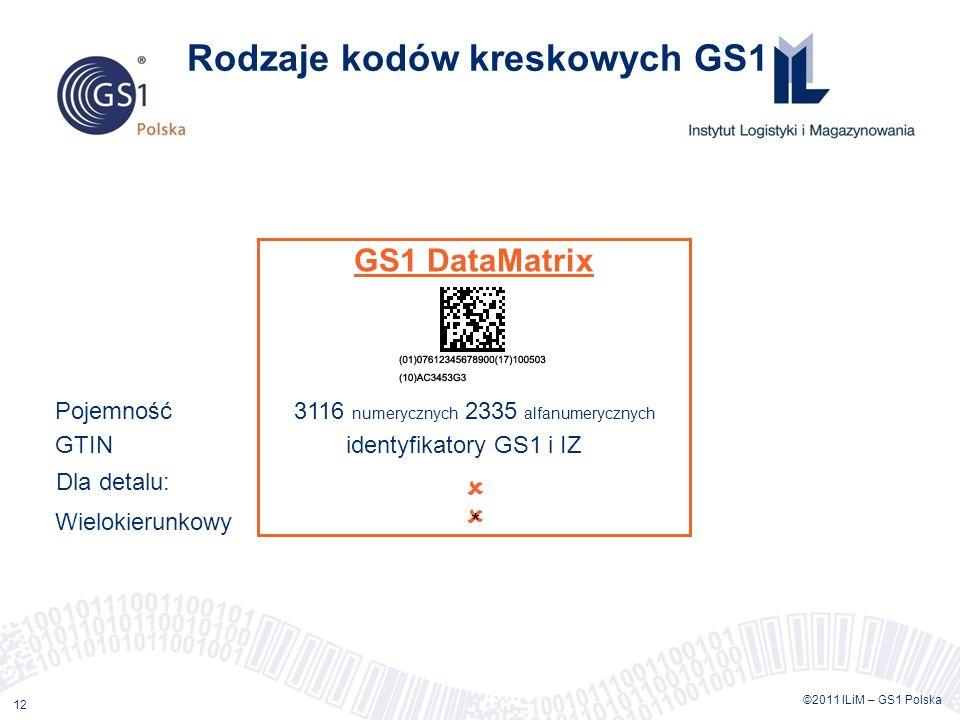 ©2011 ILiM – GS1 Polska 12 Rodzaje kodów kreskowych GS1 GS1 DataMatrix Pojemność 3116 numerycznych 2335 alfanumerycznych GTIN identyfikatory GS1 i IZ