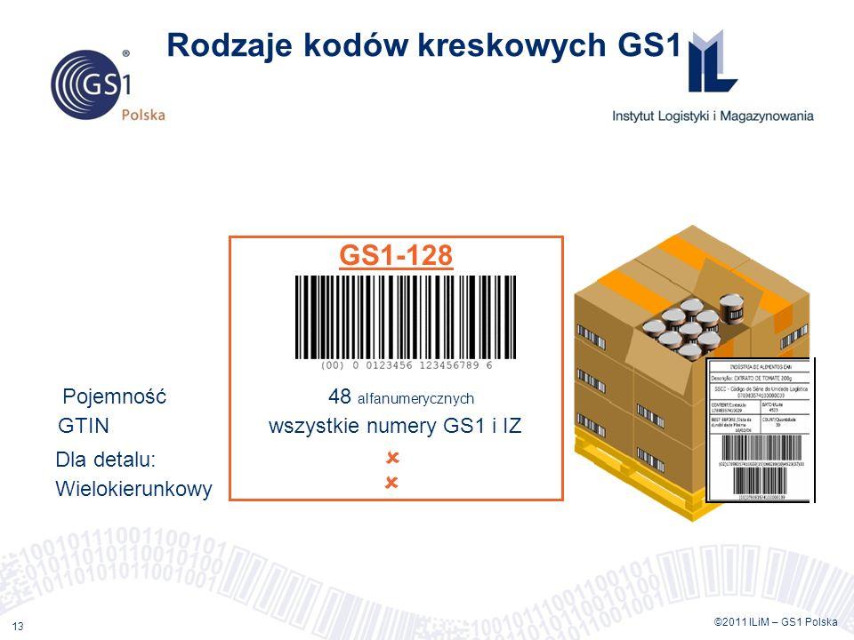 ©2011 ILiM – GS1 Polska 13 Rodzaje kodów kreskowych GS1 GS1-128 Pojemność 48 alfanumerycznych GTIN wszystkie numery GS1 i IZ Dla detalu: Wielokierunkowy