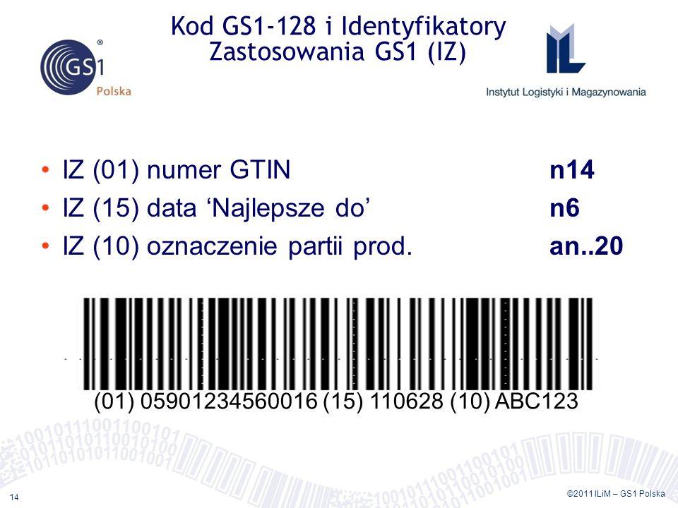 ©2011 ILiM – GS1 Polska 14 IZ (01) numer GTINn14 IZ (15) data Najlepsze don6 IZ (10) oznaczenie partii prod.an..20 Kod GS1-128 i Identyfikatory Zastosowania GS1 (IZ) (01) 05901234560016 (15) 110628 (10) ABC123