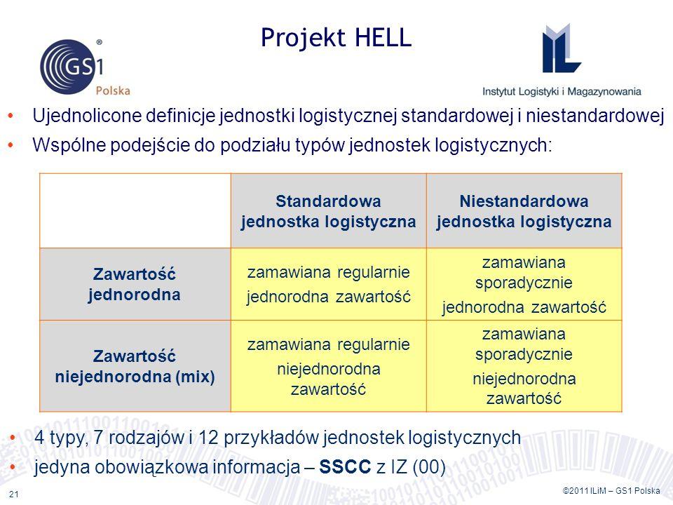 ©2011 ILiM – GS1 Polska 21 Projekt HELL Ujednolicone definicje jednostki logistycznej standardowej i niestandardowej Wspólne podejście do podziału typów jednostek logistycznych: Standardowa jednostka logistyczna Niestandardowa jednostka logistyczna Zawartość jednorodna zamawiana regularnie jednorodna zawartość zamawiana sporadycznie jednorodna zawartość Zawartość niejednorodna (mix) zamawiana regularnie niejednorodna zawartość zamawiana sporadycznie niejednorodna zawartość 4 typy, 7 rodzajów i 12 przykładów jednostek logistycznych jedyna obowiązkowa informacja – SSCC z IZ (00)