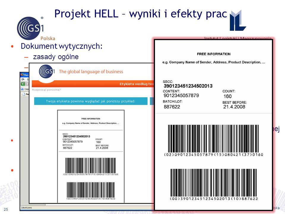 ©2011 ILiM – GS1 Polska 25 Dokument wytycznych: –zasady ogólne –typy jednostek logistycznych –dane na etykietach –wymagania techniczne dla tworzenia e