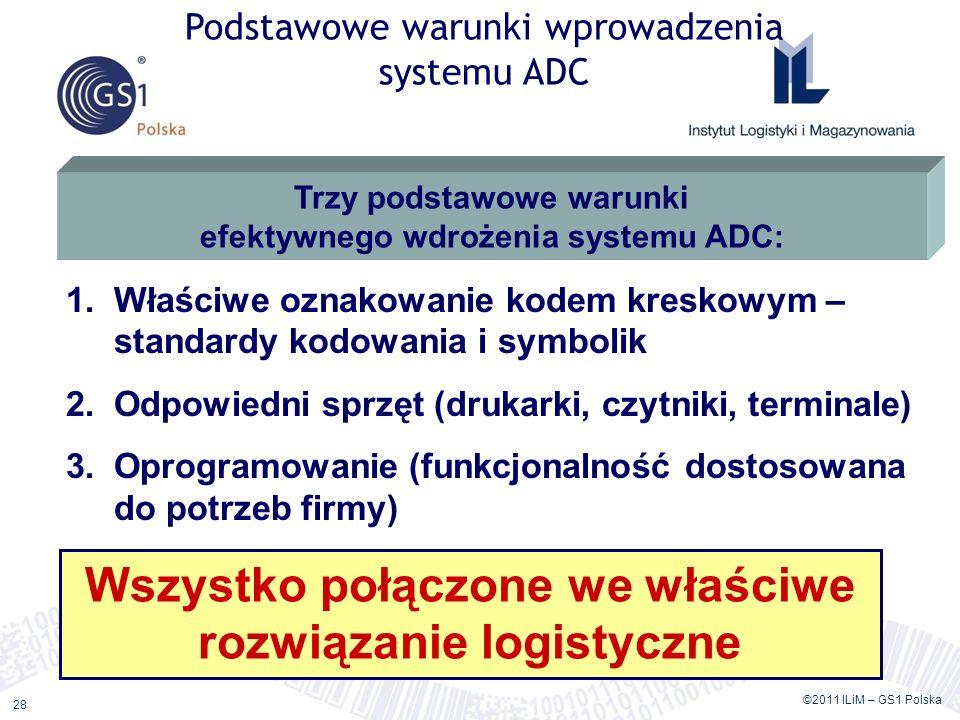 ©2011 ILiM – GS1 Polska 28 Podstawowe warunki wprowadzenia systemu ADC 1.Właściwe oznakowanie kodem kreskowym – standardy kodowania i symbolik 2.Odpowiedni sprzęt (drukarki, czytniki, terminale) 3.Oprogramowanie (funkcjonalność dostosowana do potrzeb firmy) Trzy podstawowe warunki efektywnego wdrożenia systemu ADC: Wszystko połączone we właściwe rozwiązanie logistyczne