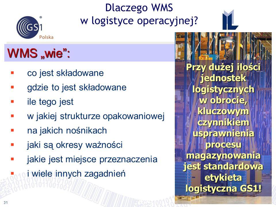 ©2011 ILiM – GS1 Polska 31 Dlaczego WMS w logistyce operacyjnej? WMS wie: co jest składowane gdzie to jest składowane ile tego jest w jakiej strukturz