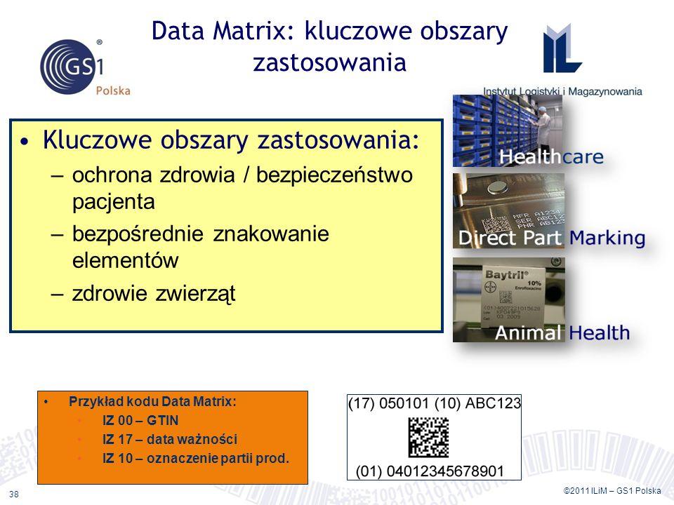 ©2011 ILiM – GS1 Polska 38 Data Matrix: kluczowe obszary zastosowania Kluczowe obszary zastosowania: –ochrona zdrowia / bezpieczeństwo pacjenta –bezpośrednie znakowanie elementów –zdrowie zwierząt Przykład kodu Data Matrix: IZ 00 – GTIN IZ 17 – data ważności IZ 10 – oznaczenie partii prod.