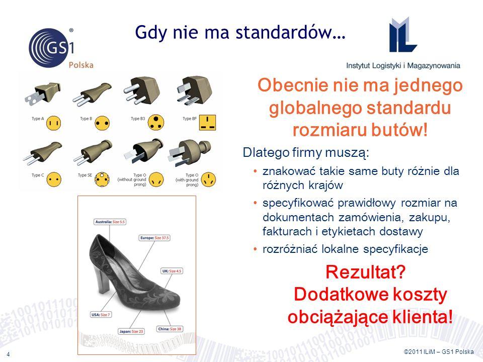 ©2011 ILiM – GS1 Polska 4 Gdy nie ma standardów… Obecnie nie ma jednego globalnego standardu rozmiaru butów! Dlatego firmy muszą: znakować takie same