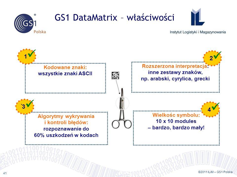©2011 ILiM – GS1 Polska 41 GS1 DataMatrix – właściwości Kodowane znaki: wszystkie znaki ASCII Rozszerzona interpretacja: inne zestawy znaków, np.