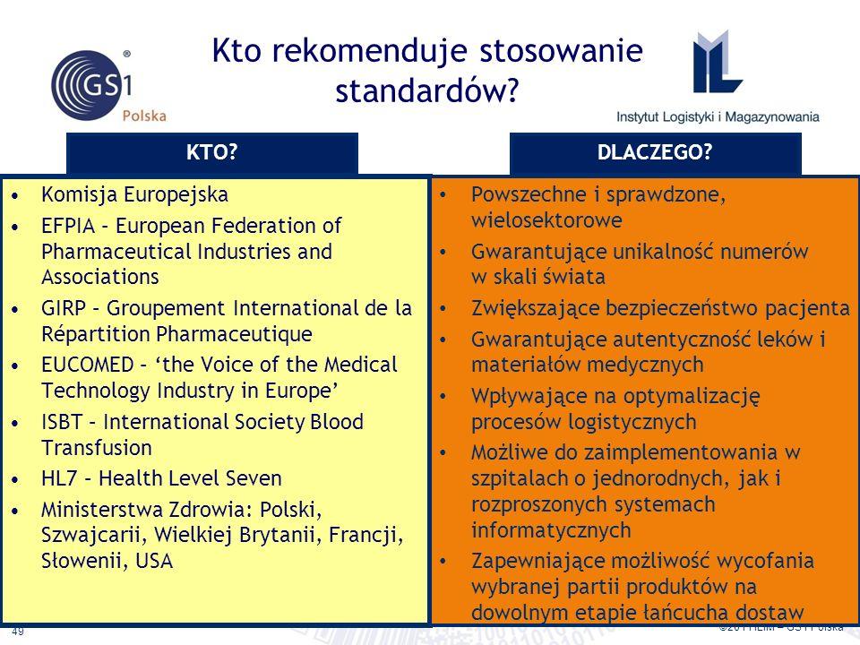 ©2011 ILiM – GS1 Polska 49 Kto rekomenduje stosowanie standardów? Komisja Europejska EFPIA – European Federation of Pharmaceutical Industries and Asso