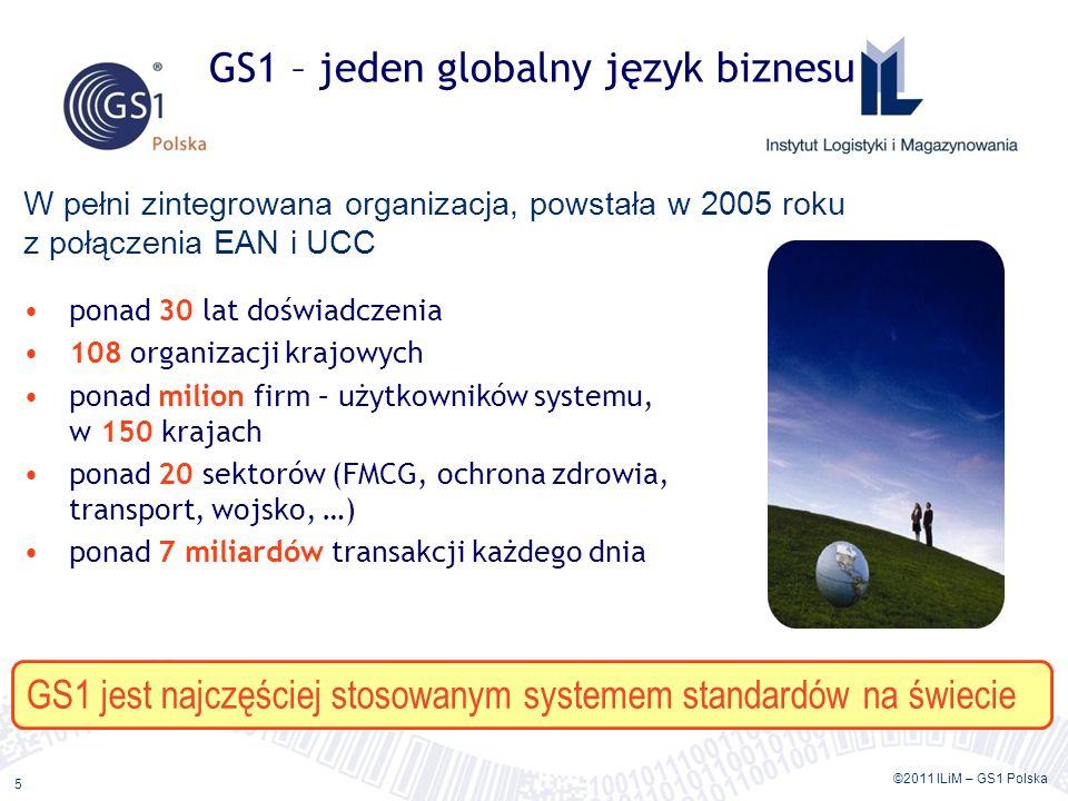 ©2011 ILiM – GS1 Polska 5 ponad 30 lat doświadczenia 108 organizacji krajowych ponad milion firm – użytkowników systemu, w 150 krajach ponad 20 sektor