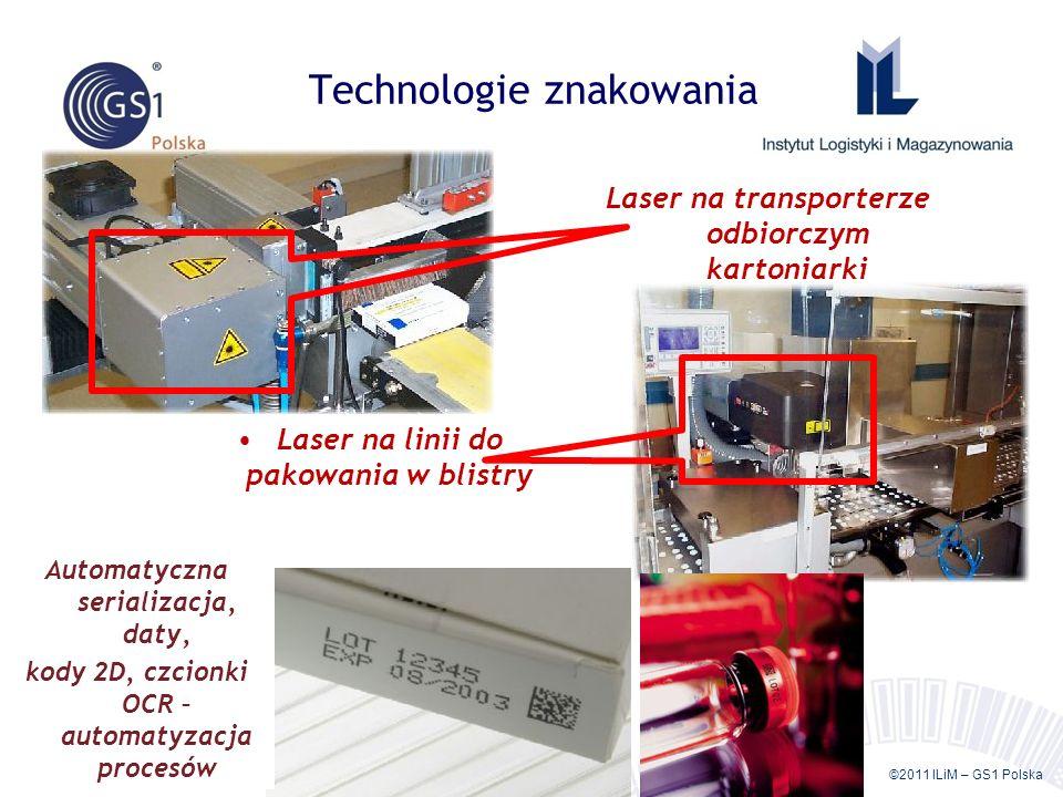 ©2011 ILiM – GS1 Polska 50 Technologie znakowania Laser na linii do pakowania w blistry Laser na transporterze odbiorczym kartoniarki Automatyczna ser