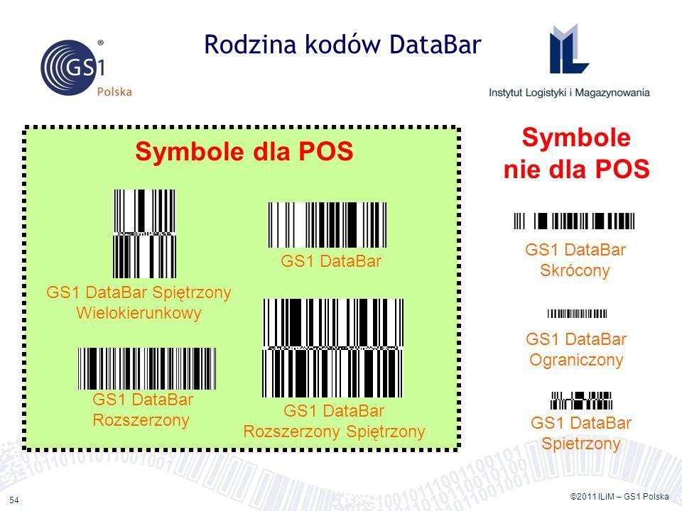 ©2011 ILiM – GS1 Polska 54 Rodzina kodów DataBar GS1 DataBar GS1 DataBar Spiętrzony Wielokierunkowy GS1 DataBar Rozszerzony GS1 DataBar Rozszerzony Spiętrzony GS1 DataBar Skrócony GS1 DataBar Ograniczony GS1 DataBar Spietrzony Symbole dla POS Symbole nie dla POS