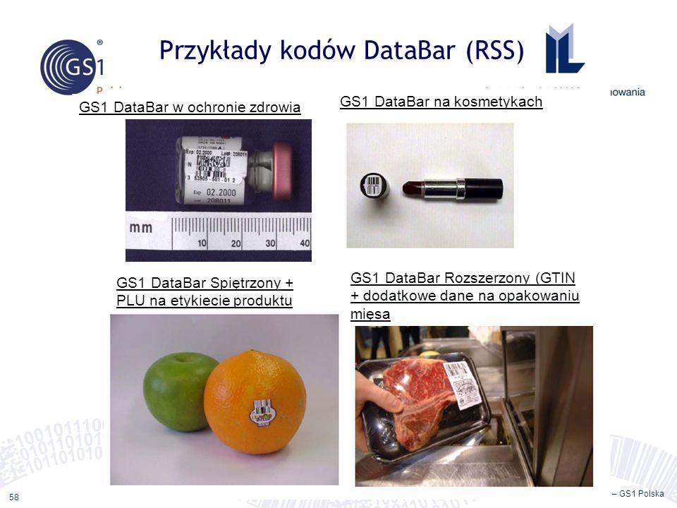 ©2011 ILiM – GS1 Polska 58 Przykłady kodów DataBar (RSS) GS1 DataBar w ochronie zdrowia GS1 DataBar na kosmetykach GS1 DataBar Spiętrzony + PLU na etykiecie produktu GS1 DataBar Rozszerzony (GTIN + dodatkowe dane na opakowaniu mięsa