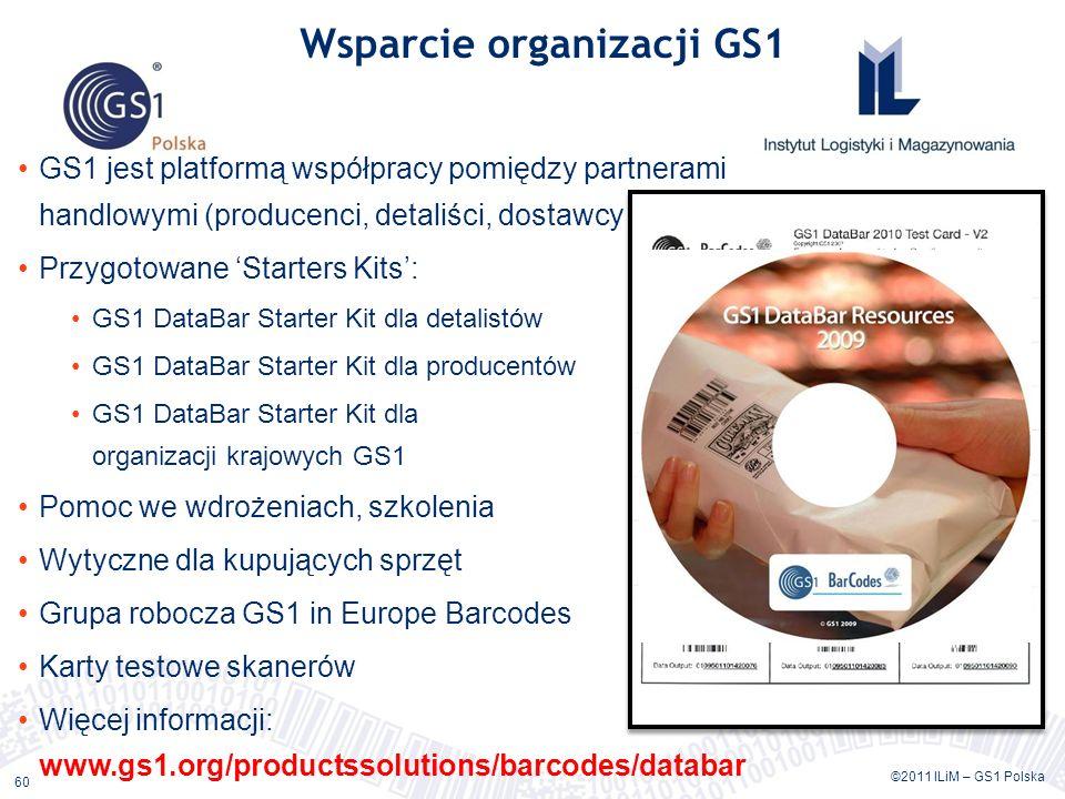 ©2011 ILiM – GS1 Polska 60 Wsparcie organizacji GS1 GS1 jest platformą współpracy pomiędzy partnerami handlowymi (producenci, detaliści, dostawcy rozwiązań) Przygotowane Starters Kits: GS1 DataBar Starter Kit dla detalistów GS1 DataBar Starter Kit dla producentów GS1 DataBar Starter Kit dla organizacji krajowych GS1 Pomoc we wdrożeniach, szkolenia Wytyczne dla kupujących sprzęt Grupa robocza GS1 in Europe Barcodes Karty testowe skanerów Więcej informacji: www.gs1.org/productssolutions/barcodes/databar