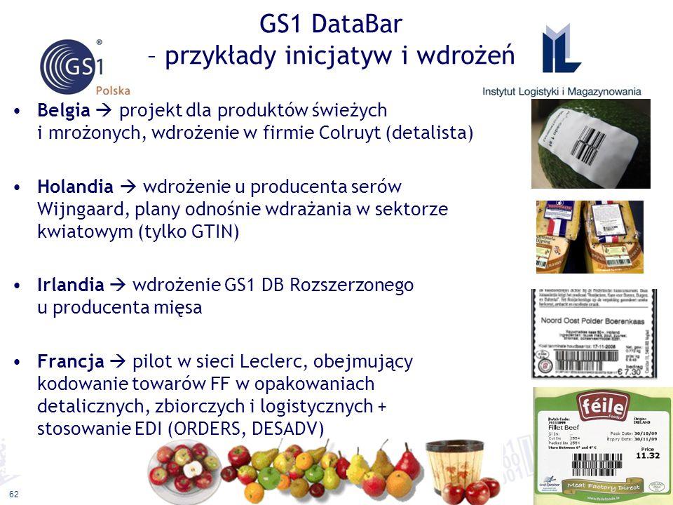 ©2011 ILiM – GS1 Polska 62 GS1 DataBar – przykłady inicjatyw i wdrożeń Belgia projekt dla produktów świeżych i mrożonych, wdrożenie w firmie Colruyt (detalista) Holandia wdrożenie u producenta serów Wijngaard, plany odnośnie wdrażania w sektorze kwiatowym (tylko GTIN) Irlandia wdrożenie GS1 DB Rozszerzonego u producenta mięsa Francja pilot w sieci Leclerc, obejmujący kodowanie towarów FF w opakowaniach detalicznych, zbiorczych i logistycznych + stosowanie EDI (ORDERS, DESADV)