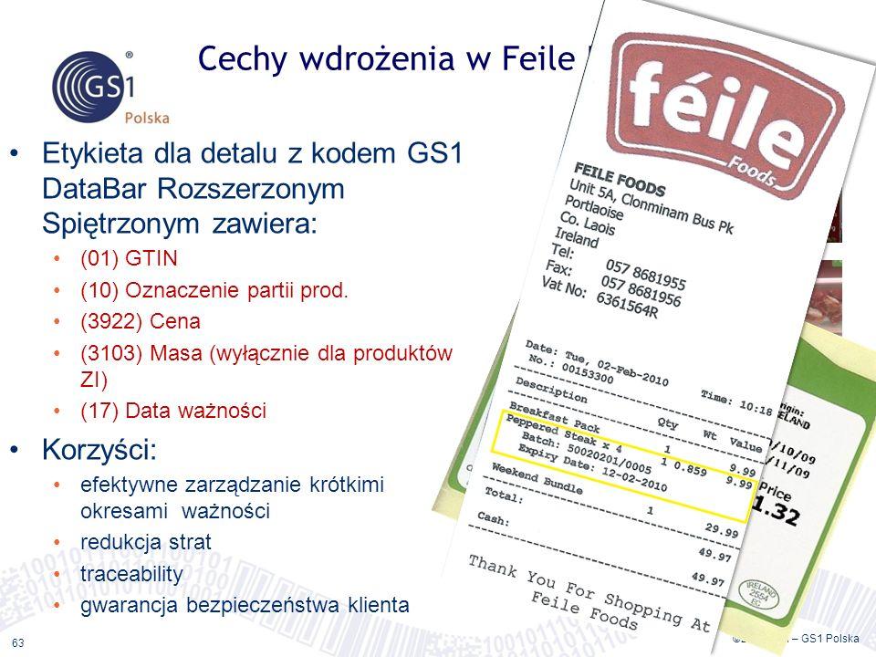 ©2011 ILiM – GS1 Polska 63 Cechy wdrożenia w Feile Foods Etykieta dla detalu z kodem GS1 DataBar Rozszerzonym Spiętrzonym zawiera: (01) GTIN (10) Ozna