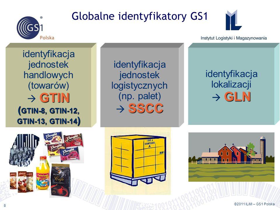 ©2011 ILiM – GS1 Polska 8 Globalne identyfikatory GS1 GTIN ( GTIN-8, GTIN-12, GTIN-13, GTIN-14 ) identyfikacja jednostek handlowych (towarów) GTIN ( GTIN-8, GTIN-12, GTIN-13, GTIN-14 ) SSCC identyfikacja jednostek logistycznych (np.