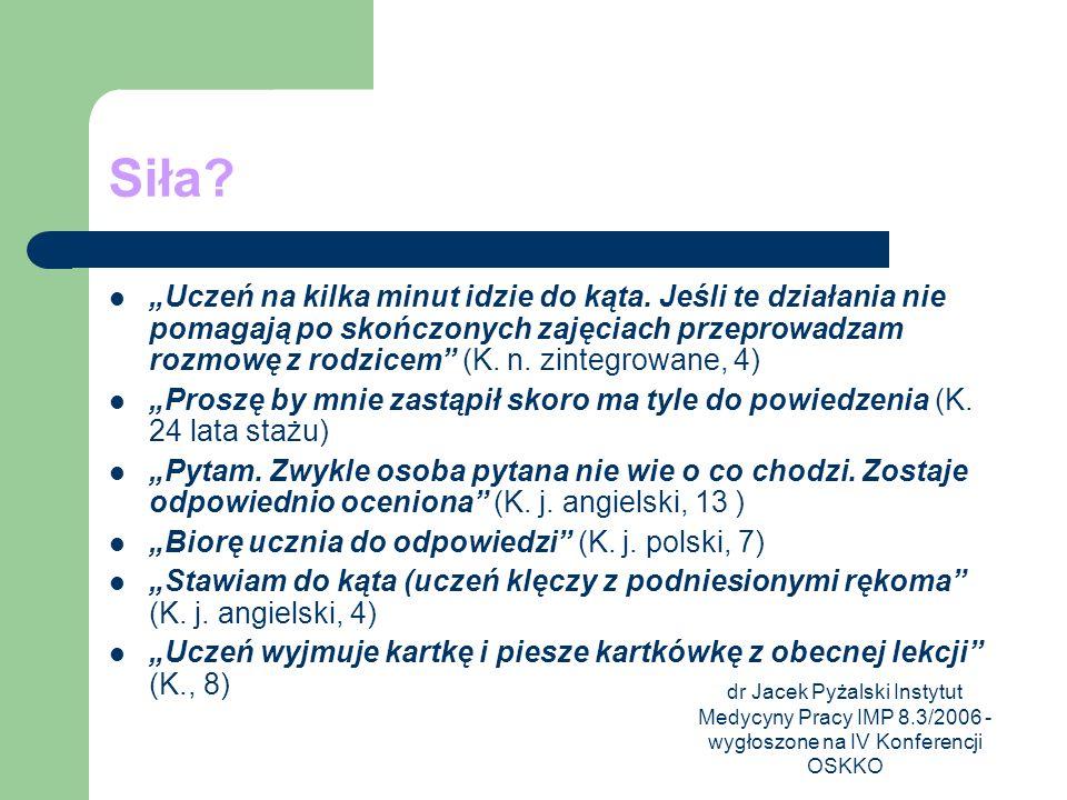 dr Jacek Pyżalski Instytut Medycyny Pracy IMP 8.3/2006 - wygłoszone na IV Konferencji OSKKO Siła? Uczeń na kilka minut idzie do kąta. Jeśli te działan