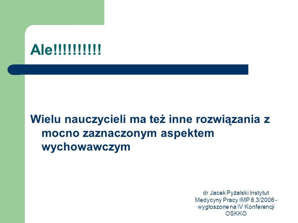 dr Jacek Pyżalski Instytut Medycyny Pracy IMP 8.3/2006 - wygłoszone na IV Konferencji OSKKO Ale!!!!!!!!!! Wielu nauczycieli ma też inne rozwiązania z