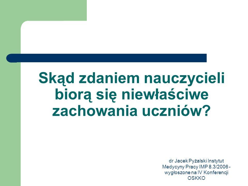 dr Jacek Pyżalski Instytut Medycyny Pracy IMP 8.3/2006 - wygłoszone na IV Konferencji OSKKO Skąd zdaniem nauczycieli biorą się niewłaściwe zachowania