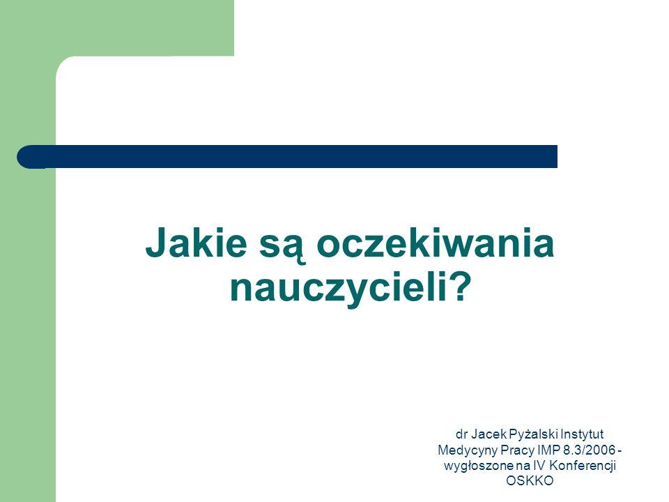 dr Jacek Pyżalski Instytut Medycyny Pracy IMP 8.3/2006 - wygłoszone na IV Konferencji OSKKO Jakie są oczekiwania nauczycieli?