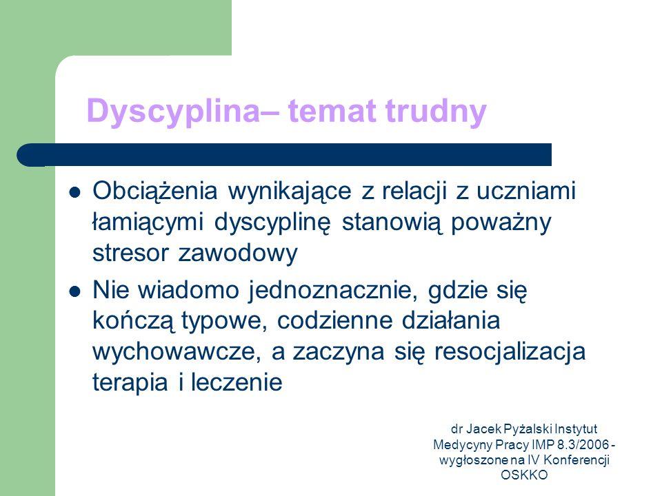 dr Jacek Pyżalski Instytut Medycyny Pracy IMP 8.3/2006 - wygłoszone na IV Konferencji OSKKO Dyscyplina– temat trudny Obciążenia wynikające z relacji z
