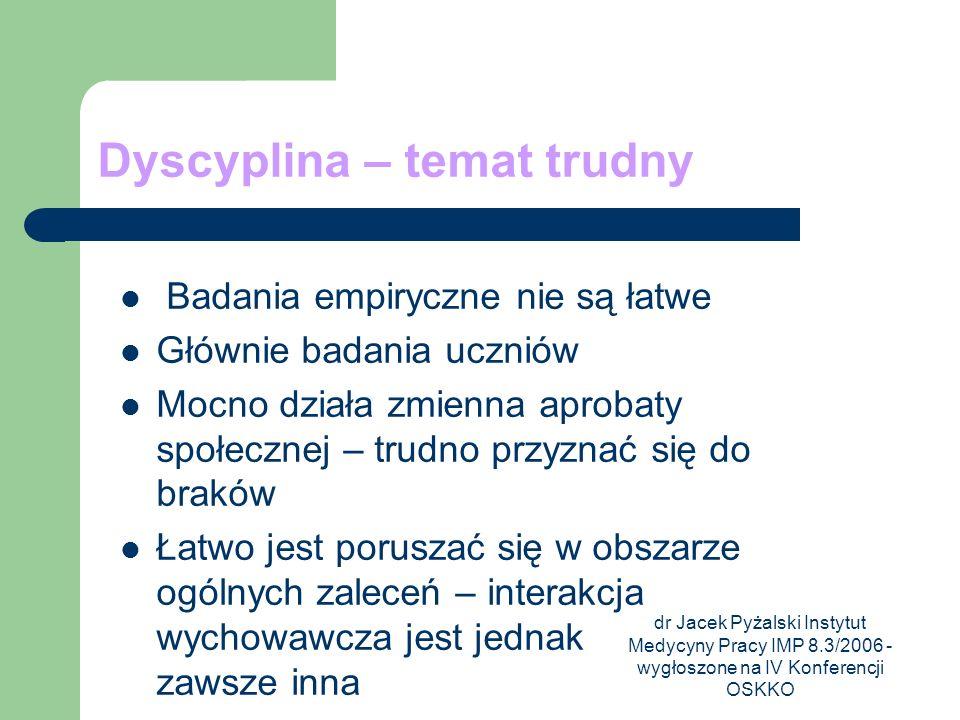dr Jacek Pyżalski Instytut Medycyny Pracy IMP 8.3/2006 - wygłoszone na IV Konferencji OSKKO Dyscyplina – temat trudny Badania empiryczne nie są łatwe