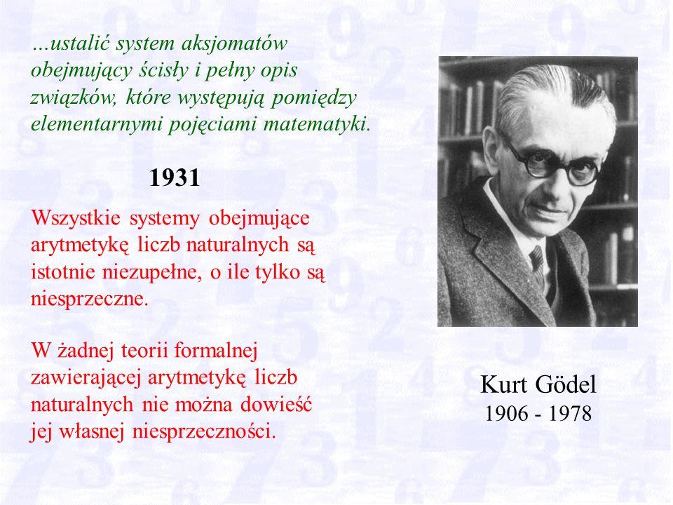 Kurt Gödel 1906 - 1978 …ustalić system aksjomatów obejmujący ścisły i pełny opis związków, które występują pomiędzy elementarnymi pojęciami matematyki.