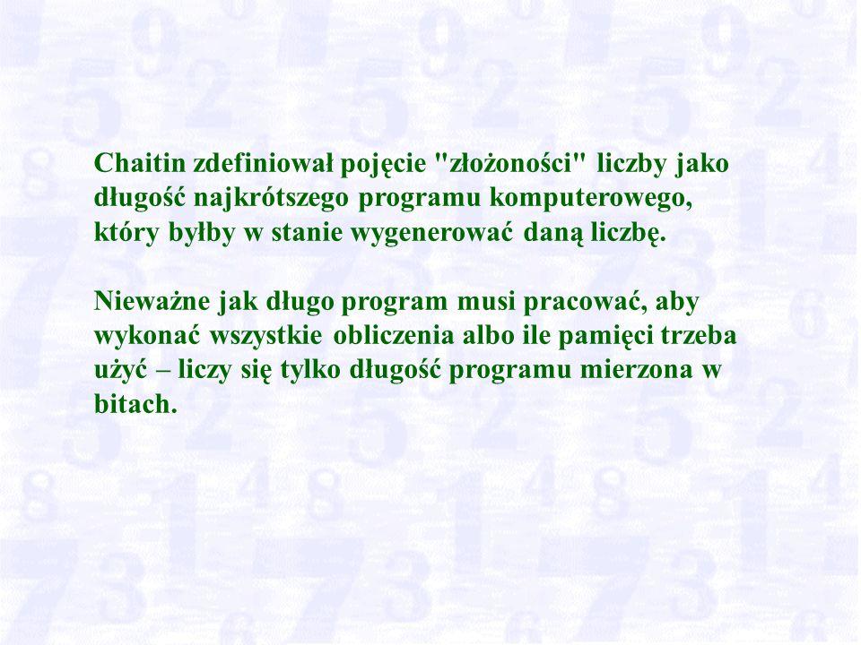 Chaitin zdefiniował pojęcie złożoności liczby jako długość najkrótszego programu komputerowego, który byłby w stanie wygenerować daną liczbę.