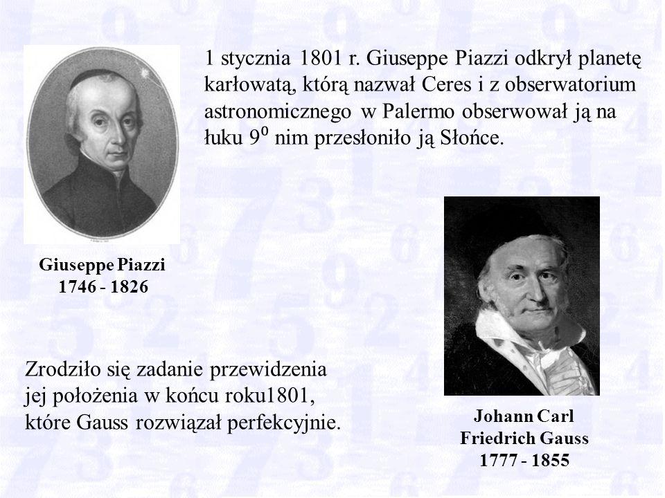 Zrodziło się zadanie przewidzenia jej położenia w końcu roku1801, które Gauss rozwiązał perfekcyjnie.