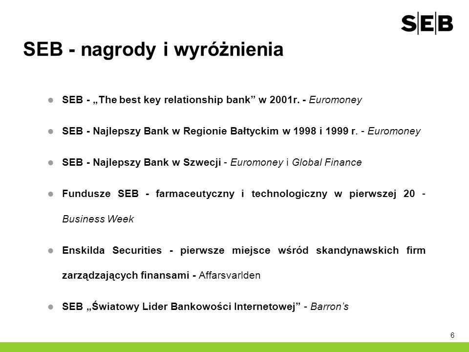 6 SEB - nagrody i wyróżnienia SEB - The best key relationship bank w 2001r. - Euromoney SEB - Najlepszy Bank w Regionie Bałtyckim w 1998 i 1999 r. - E