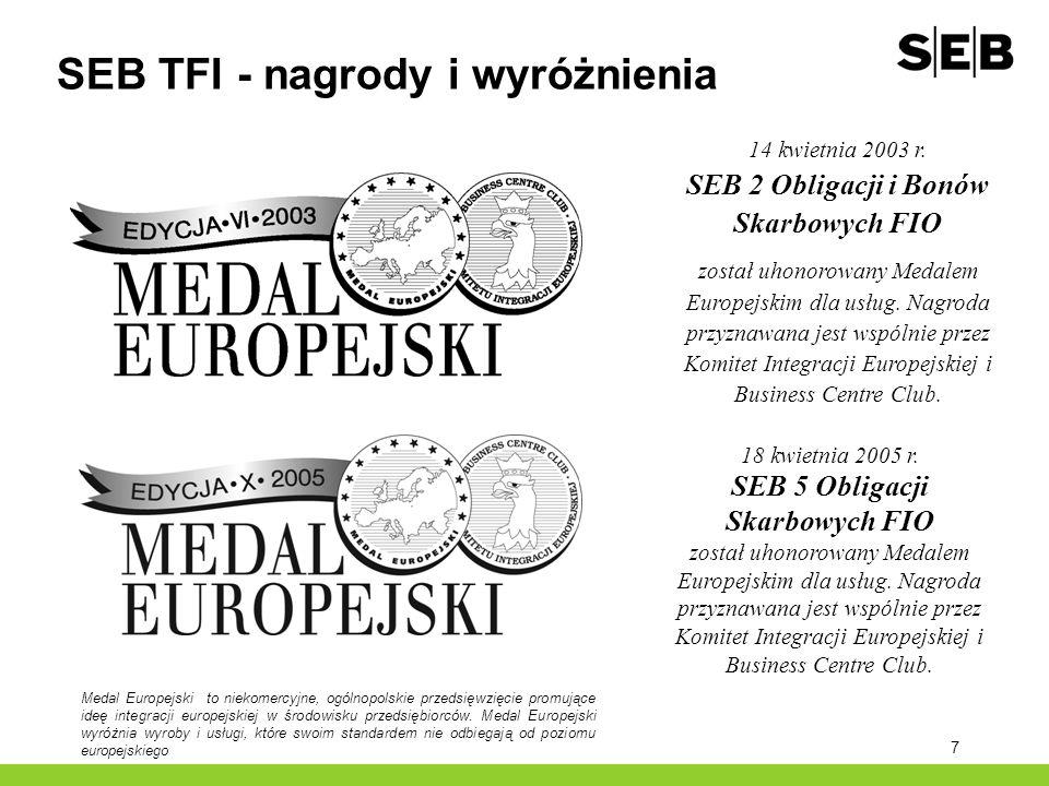 7 SEB TFI - nagrody i wyróżnienia 14 kwietnia 2003 r. SEB 2 Obligacji i Bonów Skarbowych FIO został uhonorowany Medalem Europejskim dla usług. Nagroda