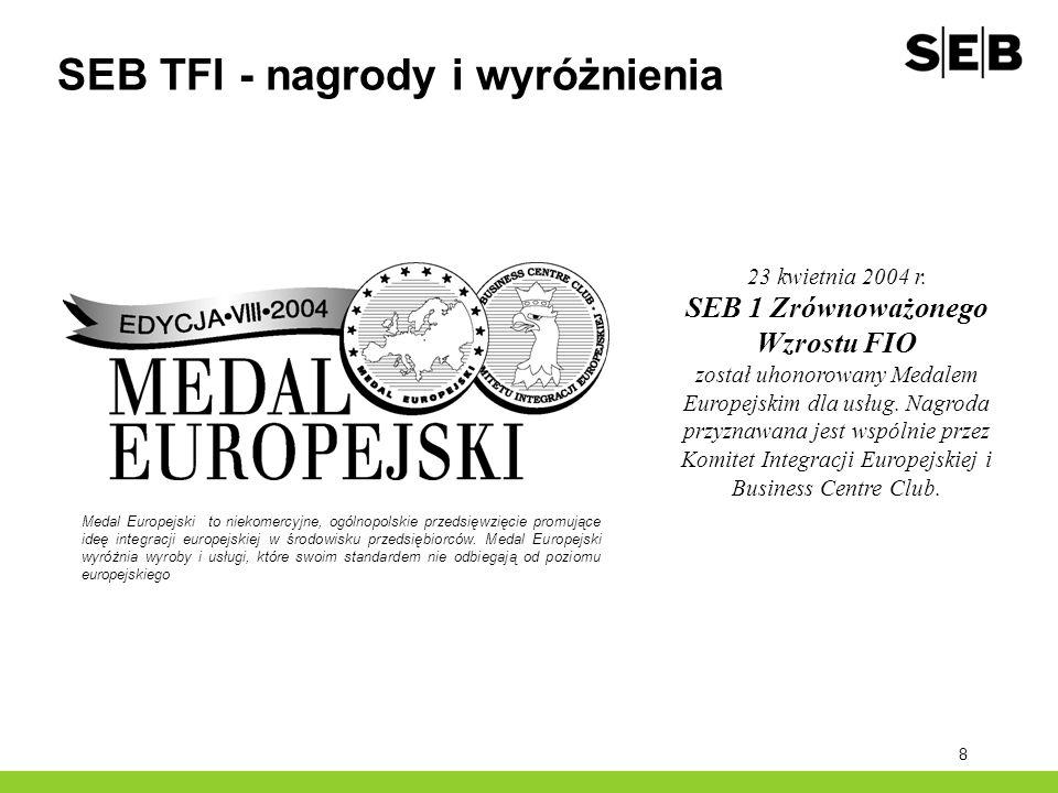 8 SEB TFI - nagrody i wyróżnienia Medal Europejski to niekomercyjne, ogólnopolskie przedsięwzięcie promujące ideę integracji europejskiej w środowisku