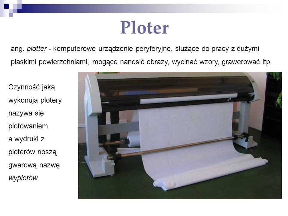 Ploter ang. plotter - komputerowe urządzenie peryferyjne, służące do pracy z dużymi płaskimi powierzchniami, mogące nanosić obrazy, wycinać wzory, gra