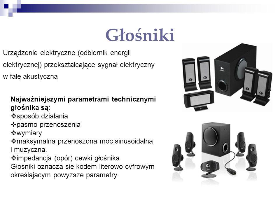 Głośniki Najważniejszymi parametrami technicznymi głośnika są: sposób działania pasmo przenoszenia wymiary maksymalna przenoszona moc sinusoidalna i m