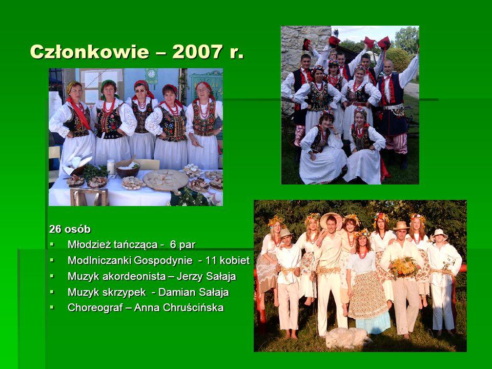 Członkowie – 2007 r. 26 osób Młodzież tańcząca - 6 par Młodzież tańcząca - 6 par Modlniczanki Gospodynie - 11 kobiet Modlniczanki Gospodynie - 11 kobi