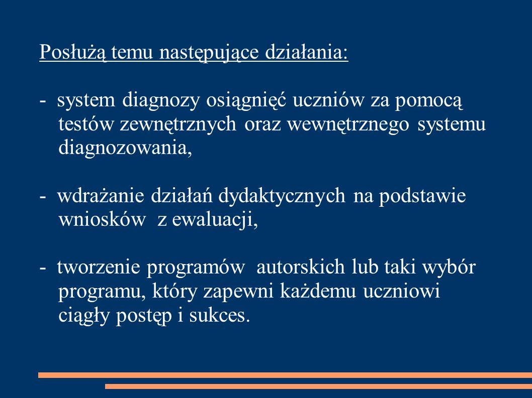 Posłużą temu następujące działania: - system diagnozy osiągnięć uczniów za pomocą testów zewnętrznych oraz wewnętrznego systemu diagnozowania, - wdraż