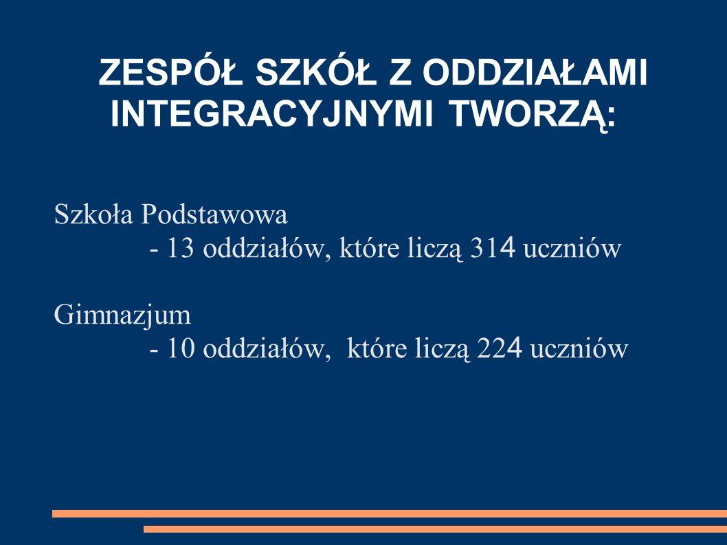 ZESPÓŁ SZKÓŁ Z ODDZIAŁAMI INTEGRACYJNYMI TWORZĄ: Szkoła Podstawowa - 13 oddziałów, które liczą 31 4 uczniów Gimnazjum - 10 oddziałów, które liczą 22 4