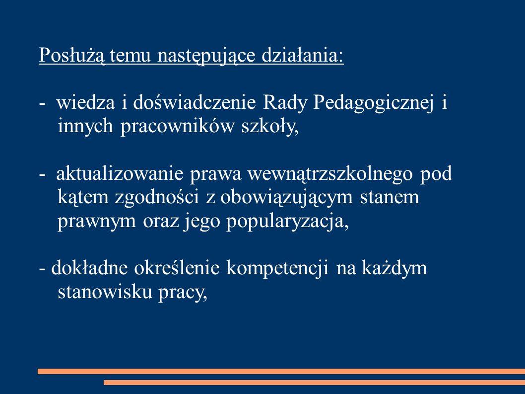 Posłużą temu następujące działania: - wiedza i doświadczenie Rady Pedagogicznej i innych pracowników szkoły, - aktualizowanie prawa wewnątrzszkolnego