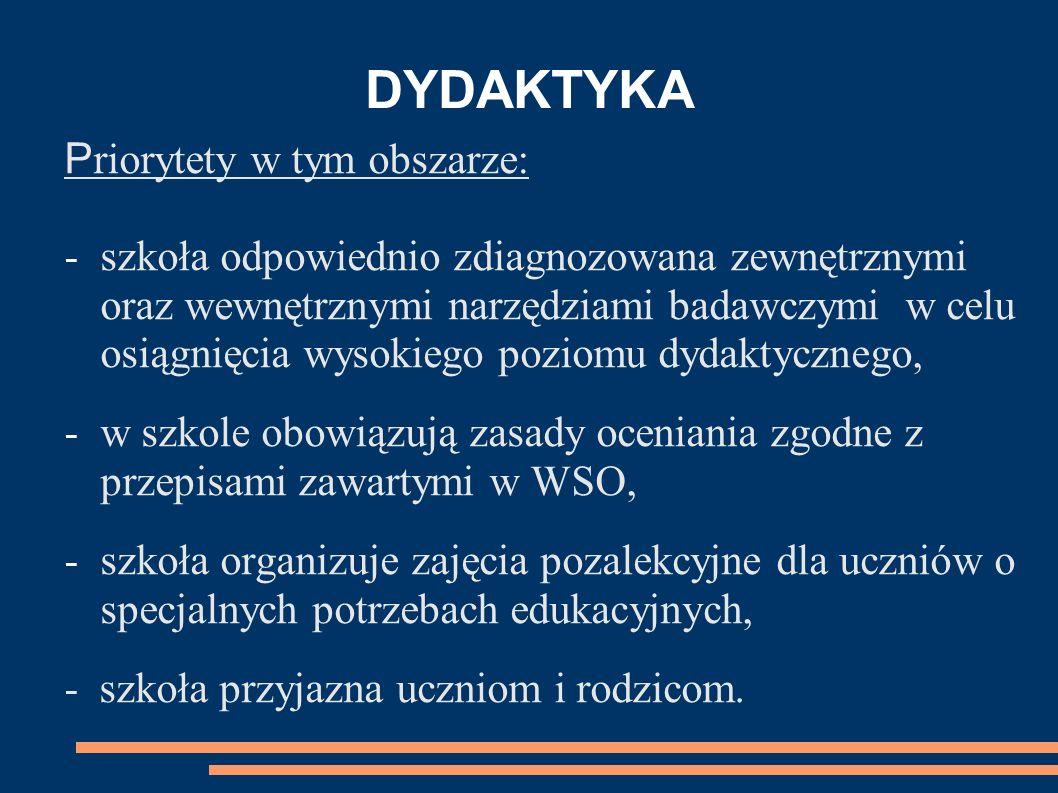 DYDAKTYKA P riorytety w tym obszarze: -szkoła odpowiednio zdiagnozowana zewnętrznymi oraz wewnętrznymi narzędziami badawczymi w celu osiągnięcia wysok