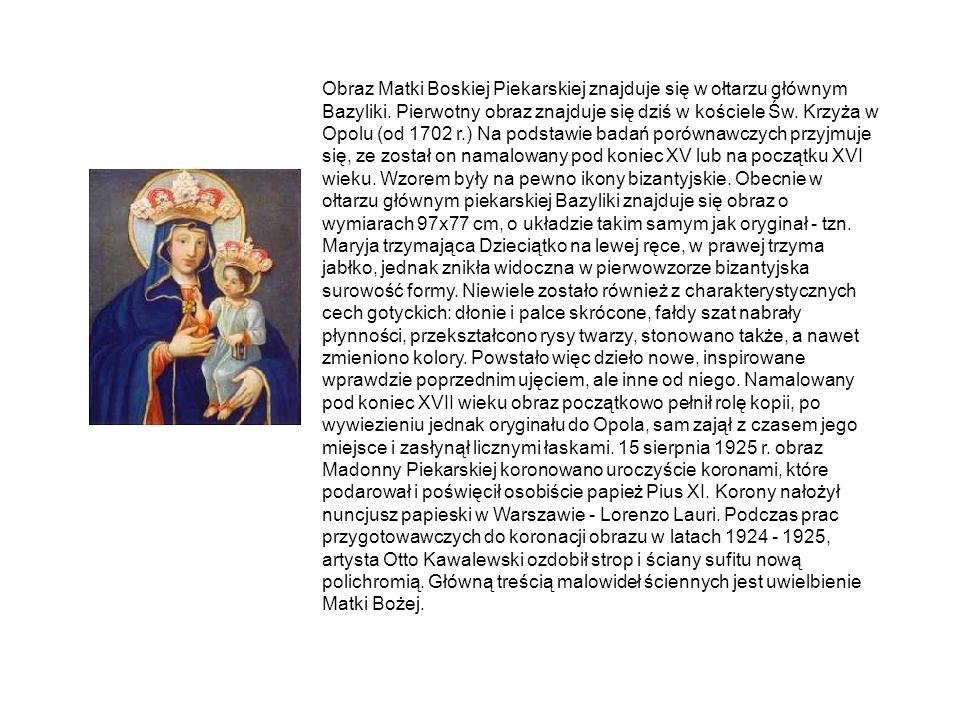 Obraz Matki Boskiej Piekarskiej znajduje się w ołtarzu głównym Bazyliki.