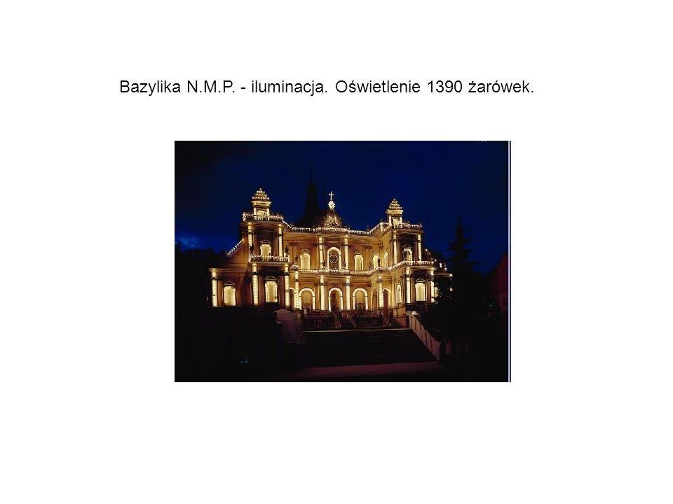 Bazylika N.M.P. - iluminacja. Oświetlenie 1390 żarówek.