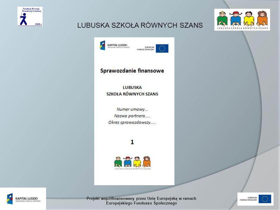 LUBUSKA SZKOŁA RÓWNYCH SZANS Projekt współfinansowany przez Unię Europejską w ramach Europejskiego Funduszu Społecznego Zasady korygowania i poprawiania sprawozdań finansowych W przypadku stwierdzenia przez FRDL braków lub błędów formalno – rachunkowych w złożonym wniosku o płatność lub dokumentach, które mają wpływ na ocenę kwalifikowalności poniesionych wydatków, FRDL informuje w formie elektronicznej Partnera o brakach lub błędach formalno-rachunkowych.