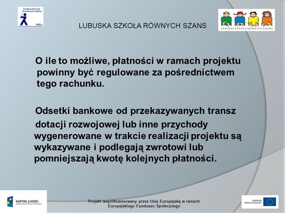 LUBUSKA SZKOŁA RÓWNYCH SZANS Projekt współfinansowany przez Unię Europejską w ramach Europejskiego Funduszu Społecznego O ile to możliwe, płatności w ramach projektu powinny być regulowane za pośrednictwem tego rachunku.