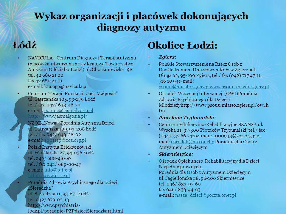 Wykaz organizacji i placówek dokonujących diagnozy autyzmu Łódź NAVICULA - Centrum Diagnozy i Terapii Autyzmu (placówka utworzona przez Krajowe Towarz